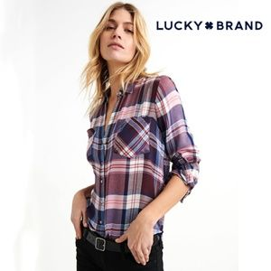 Lucky Brand Long Sleeve Plaid Blouse Small NWT